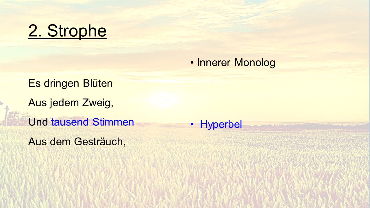2. Strophe Innerer Monolog