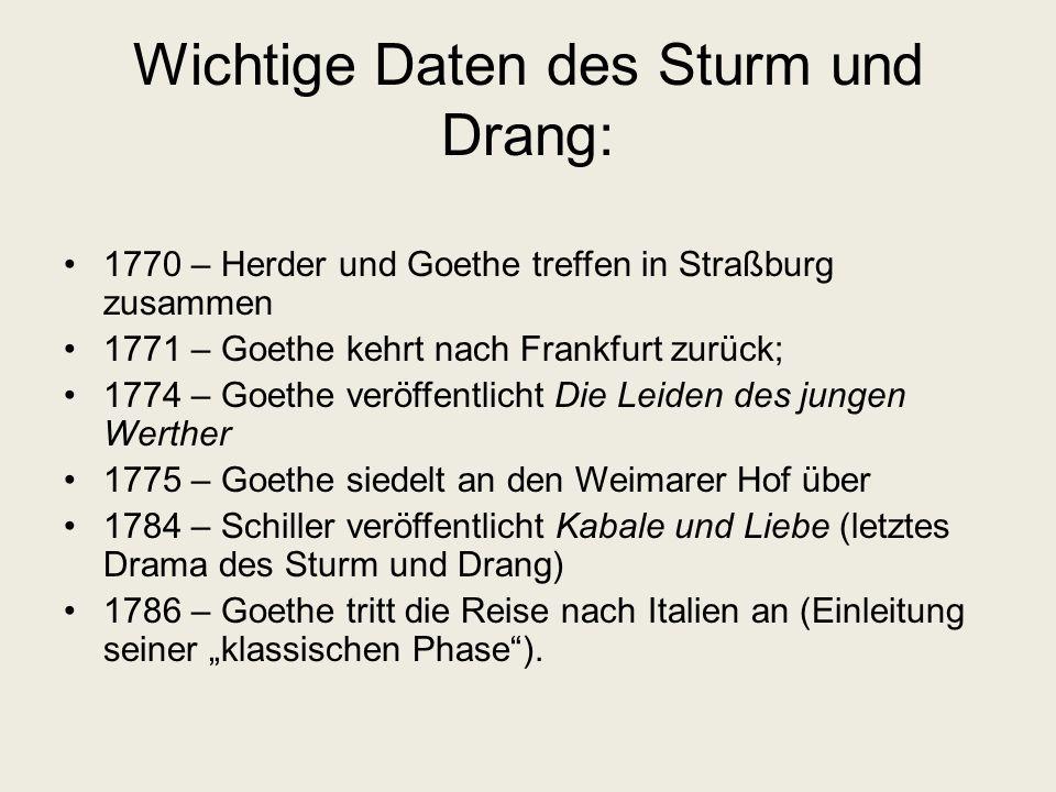 Wichtige Daten des Sturm und Drang: