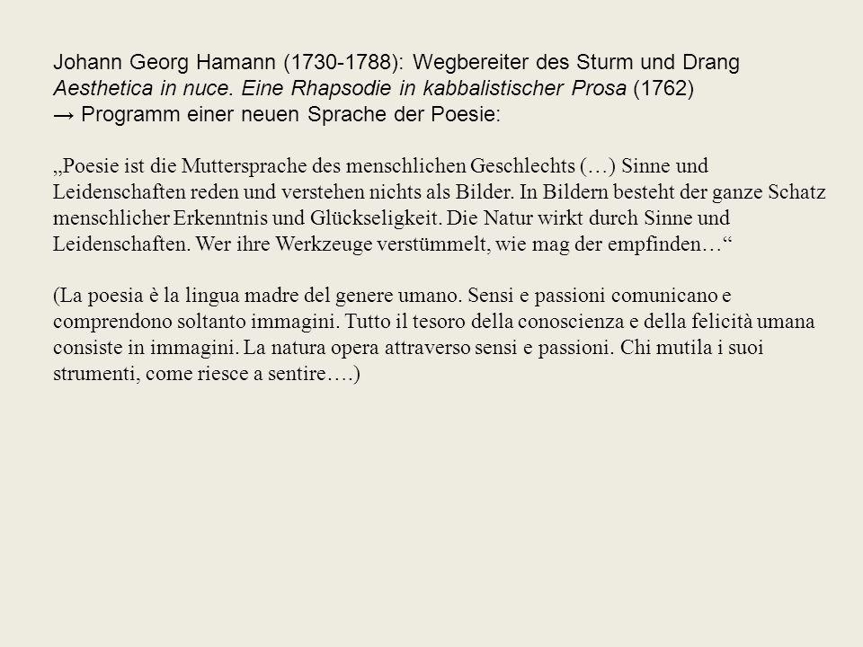 Johann Georg Hamann (1730-1788): Wegbereiter des Sturm und Drang