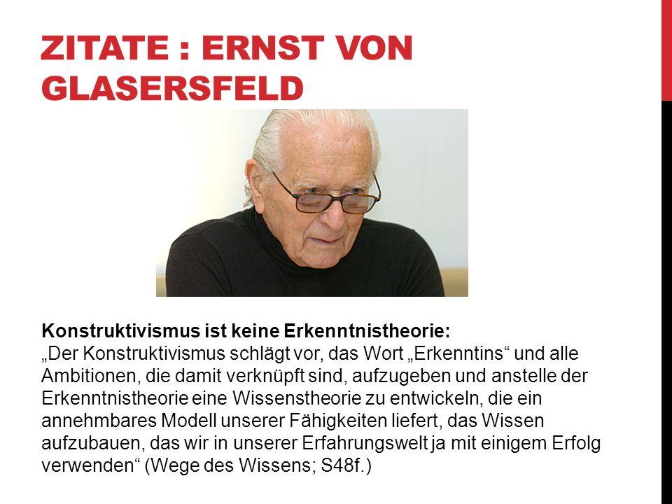 Zitate : Ernst von Glasersfeld
