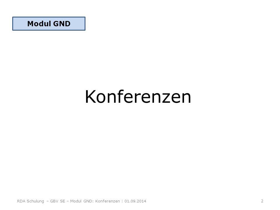 Modul GND Konferenzen RDA Schulung – GBV SE – Modul GND: Konferenzen | 01.09.2014