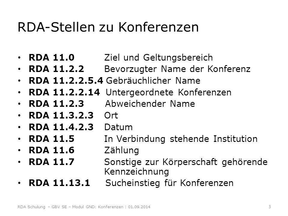 RDA-Stellen zu Konferenzen