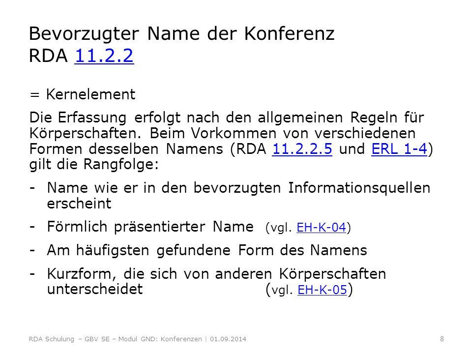 Bevorzugter Name der Konferenz RDA 11.2.2