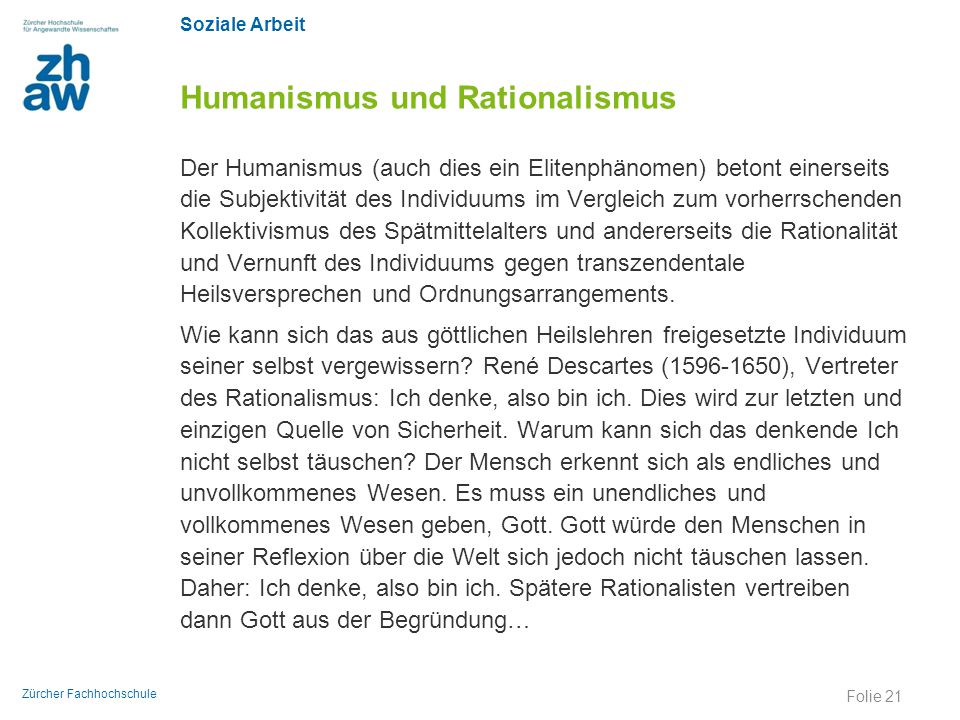 Humanismus und Rationalismus
