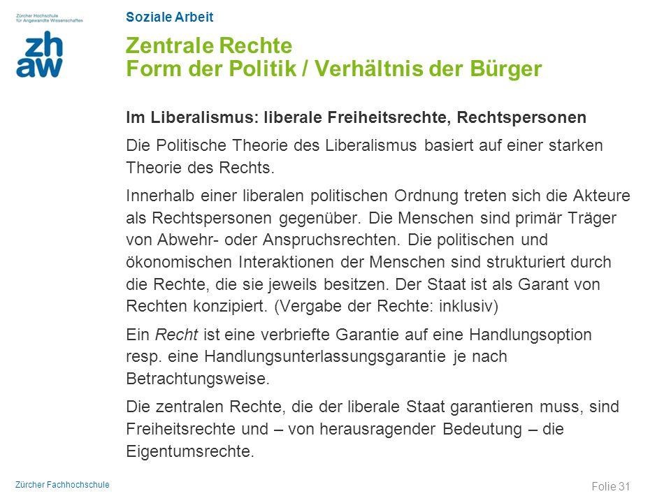 Zentrale Rechte Form der Politik / Verhältnis der Bürger