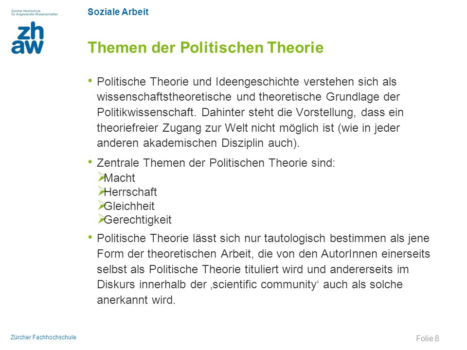 Themen der Politischen Theorie
