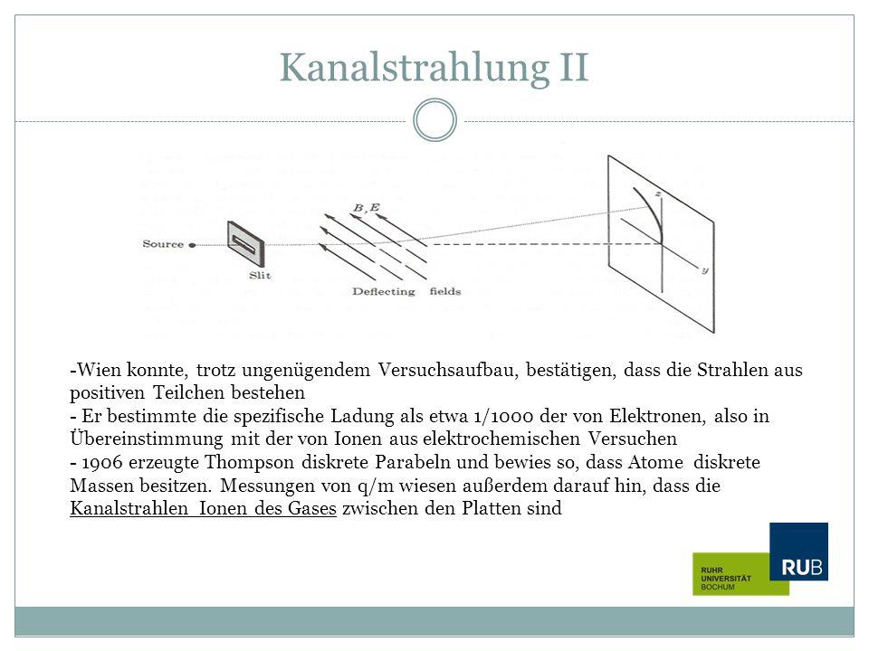 Kanalstrahlung II Wien konnte, trotz ungenügendem Versuchsaufbau, bestätigen, dass die Strahlen aus positiven Teilchen bestehen.