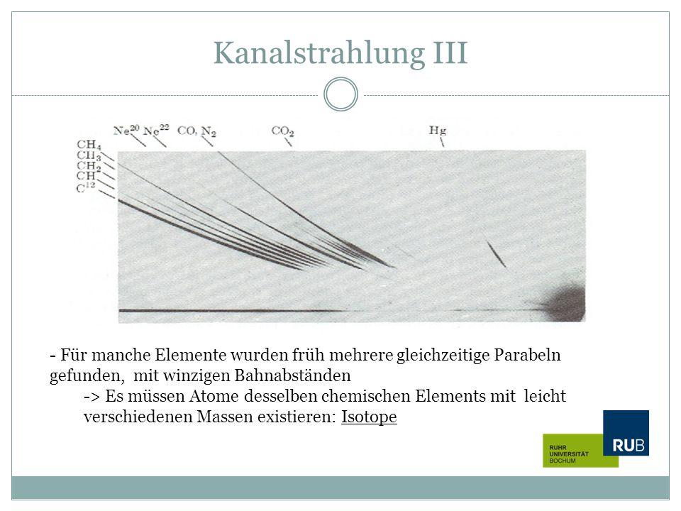 Kanalstrahlung III Für manche Elemente wurden früh mehrere gleichzeitige Parabeln gefunden, mit winzigen Bahnabständen.