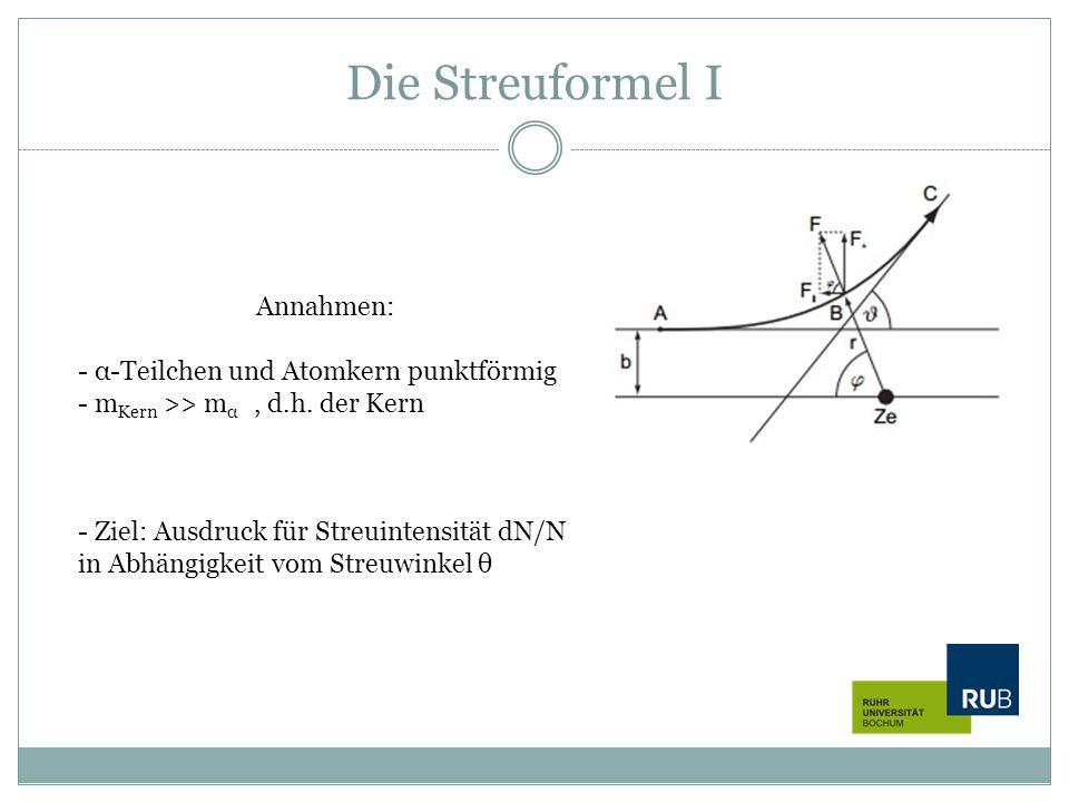 Die Streuformel I Annahmen: α-Teilchen und Atomkern punktförmig