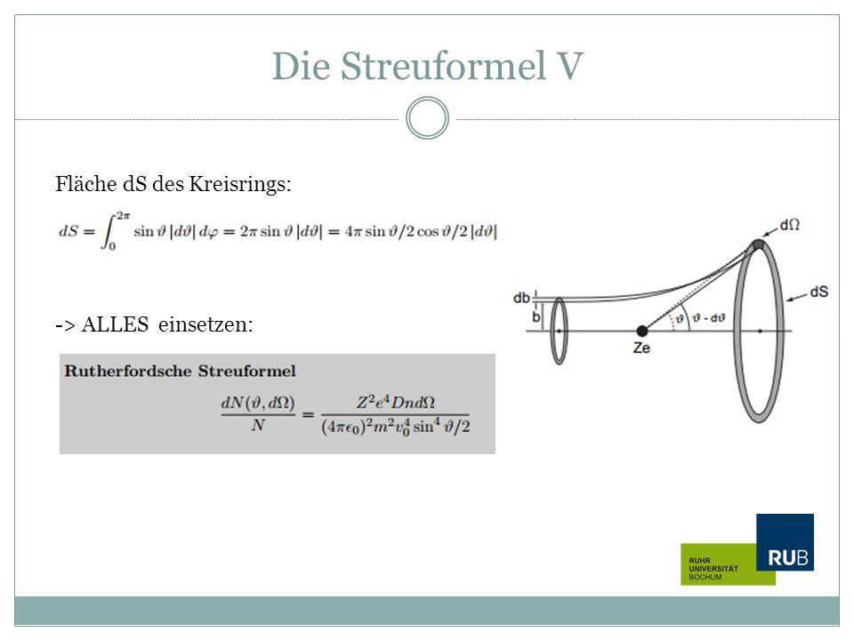 Die Streuformel V Fläche dS des Kreisrings: -> ALLES einsetzen: