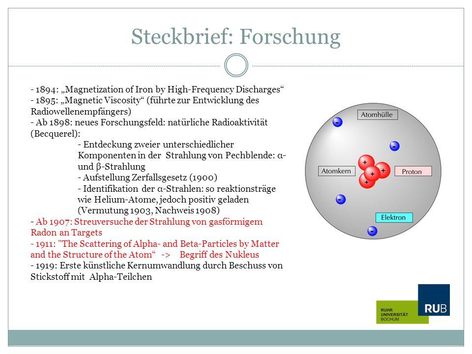 Steckbrief: Forschung