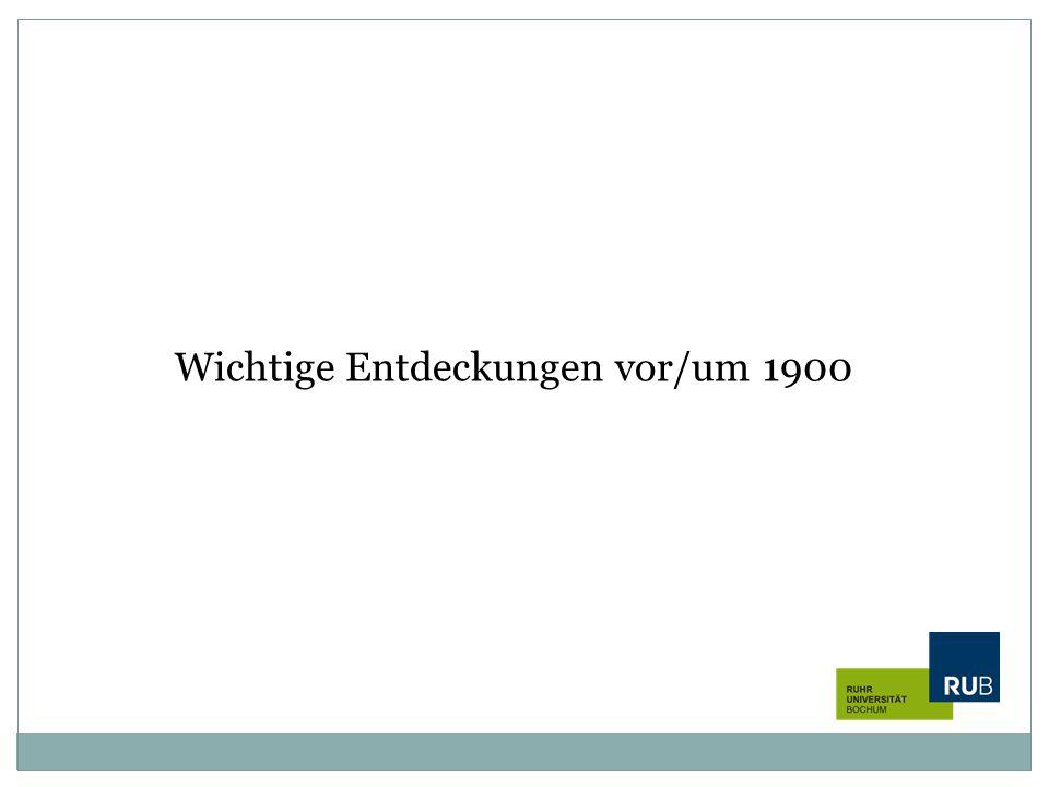 Wichtige Entdeckungen vor/um 1900