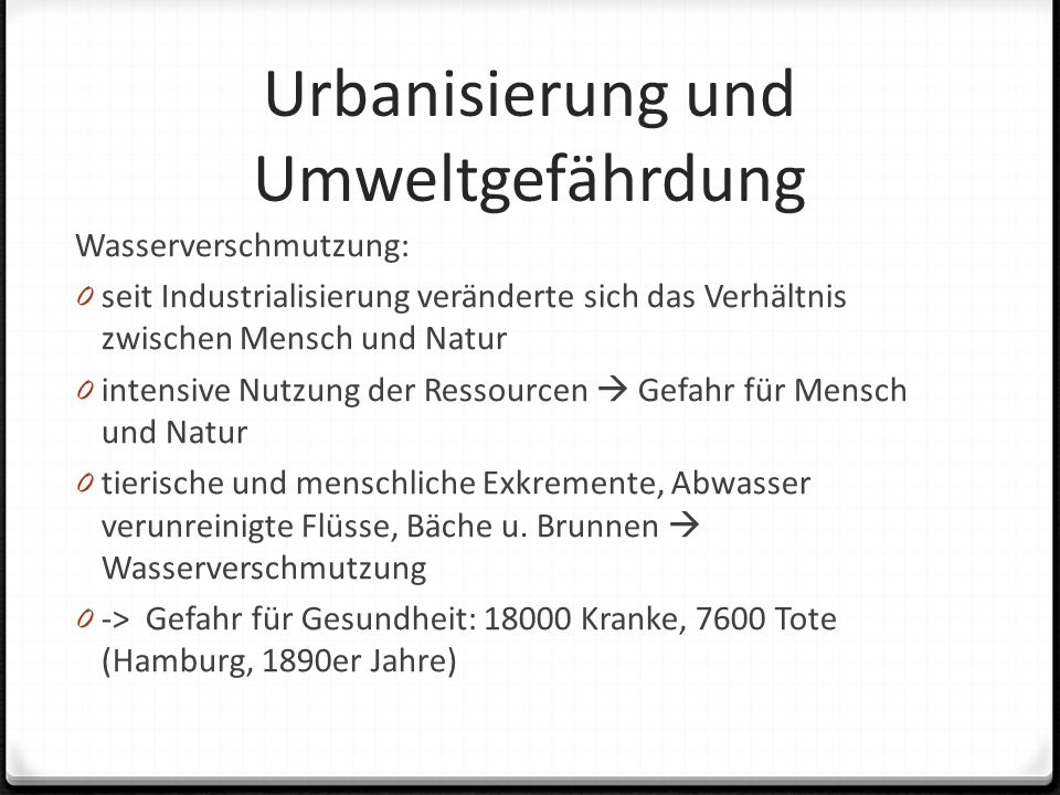 Urbanisierung und Umweltgefährdung