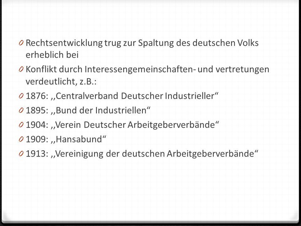 Rechtsentwicklung trug zur Spaltung des deutschen Volks erheblich bei