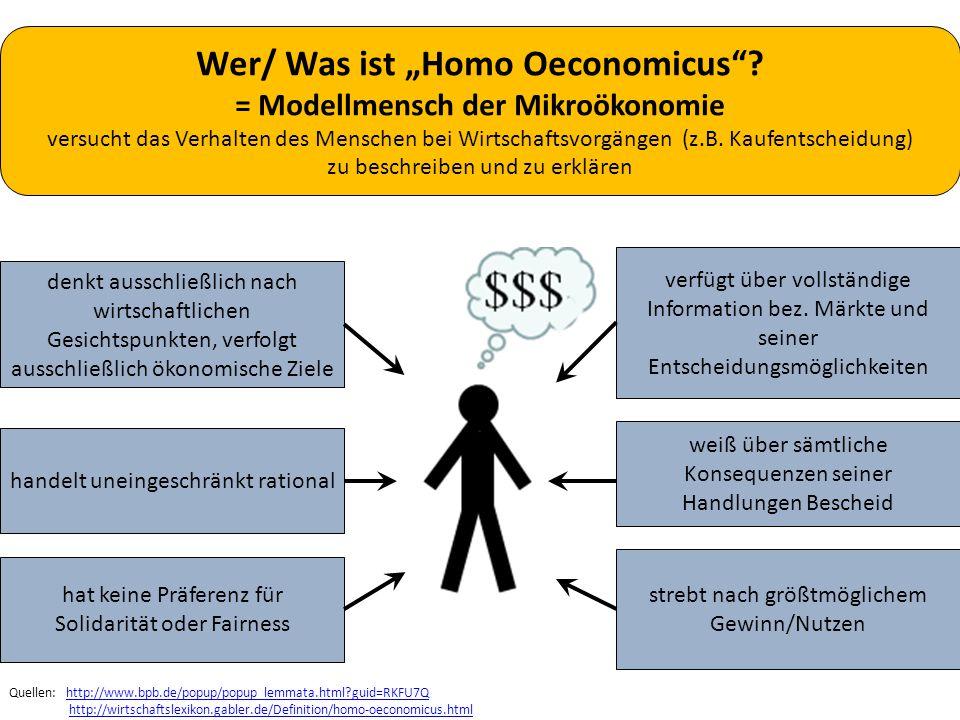 """Wer/ Was ist """"Homo Oeconomicus = Modellmensch der Mikroökonomie"""