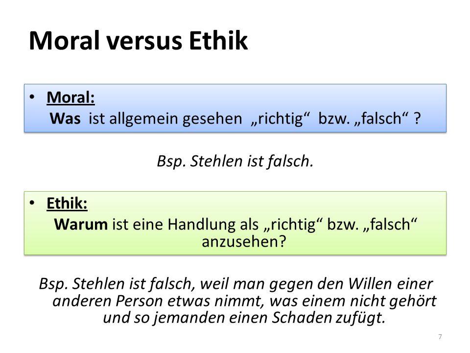 Moral versus Ethik Moral: