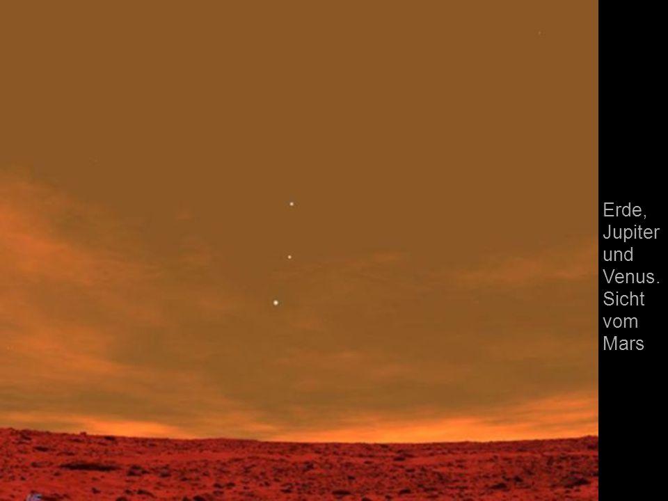 Erde, Jupiterund Venus. Sicht vom Mars