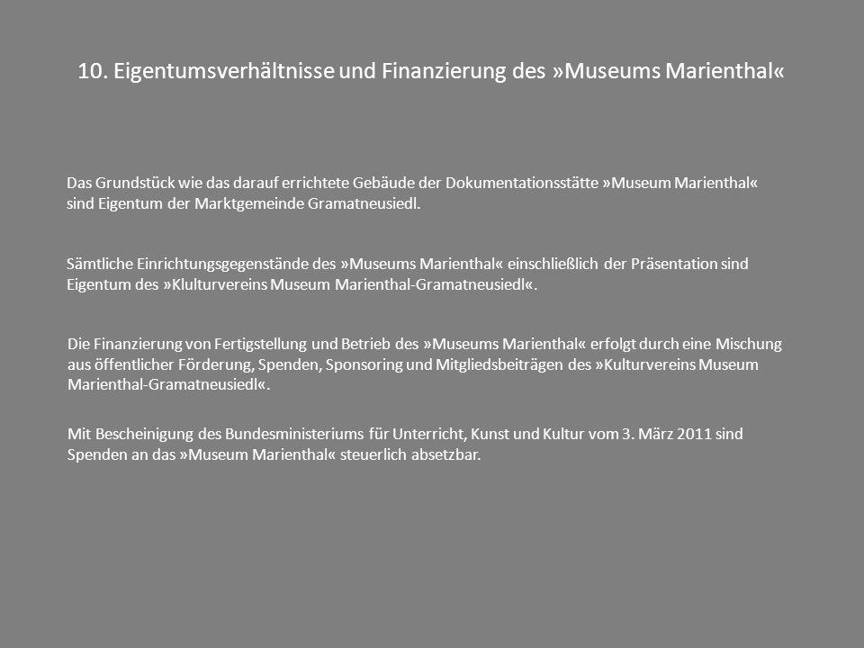 10. Eigentumsverhältnisse und Finanzierung des »Museums Marienthal«