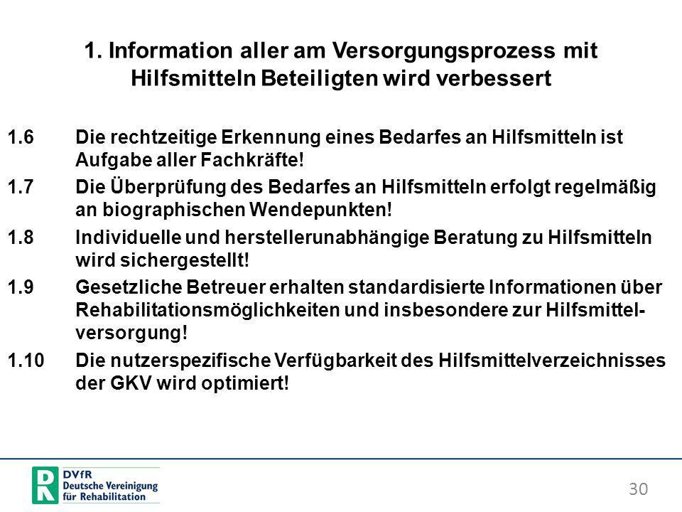 1. Information aller am Versorgungsprozess mit Hilfsmitteln Beteiligten wird verbessert