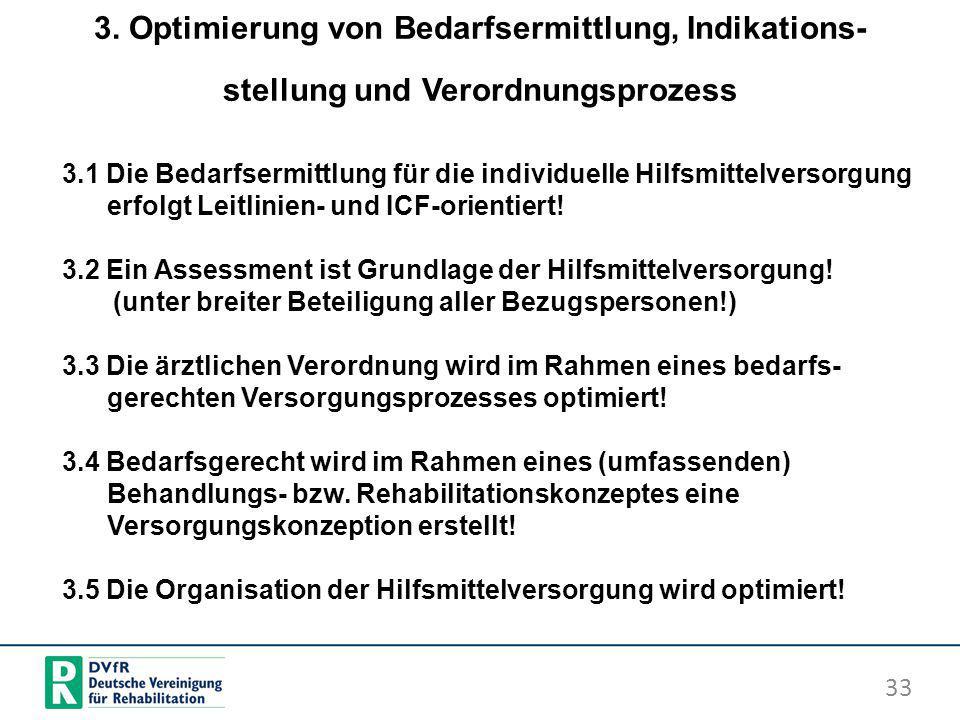 3. Optimierung von Bedarfsermittlung, Indikations-stellung und Verordnungsprozess