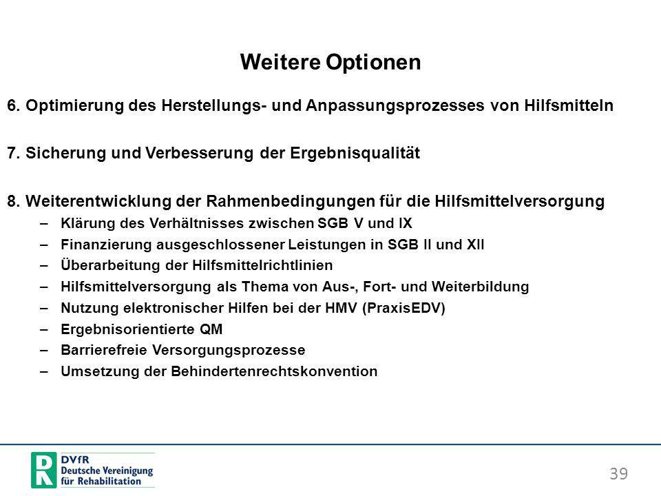 Weitere Optionen 6. Optimierung des Herstellungs- und Anpassungsprozesses von Hilfsmitteln. 7. Sicherung und Verbesserung der Ergebnisqualität.
