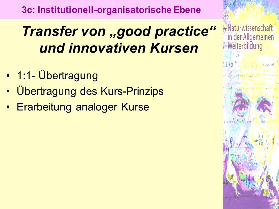 """Transfer von """"good practice und innovativen Kursen"""