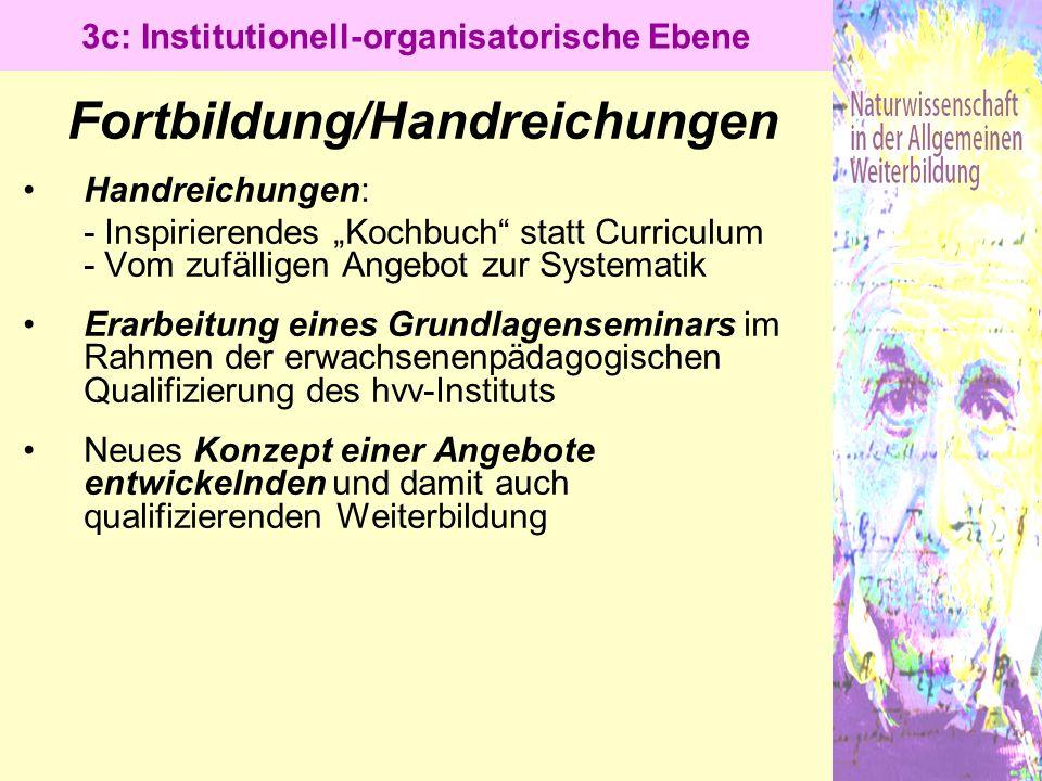 3c: Institutionell-organisatorische Ebene Fortbildung/Handreichungen