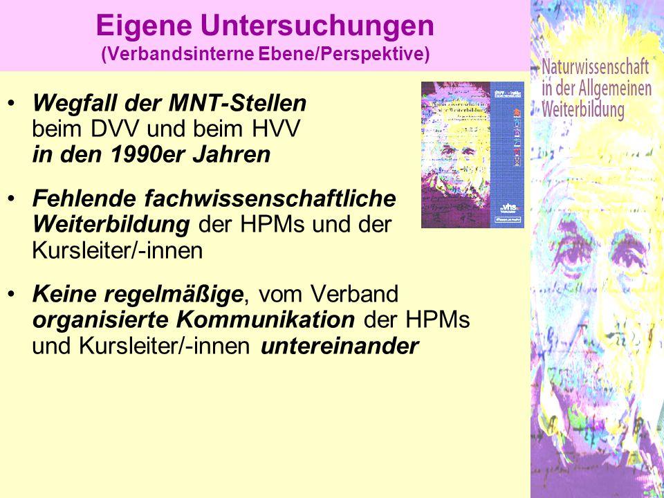 Eigene Untersuchungen (Verbandsinterne Ebene/Perspektive)