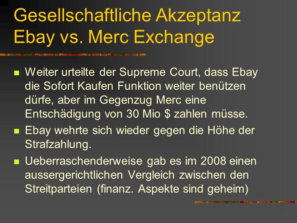 Gesellschaftliche Akzeptanz Ebay vs. Merc Exchange