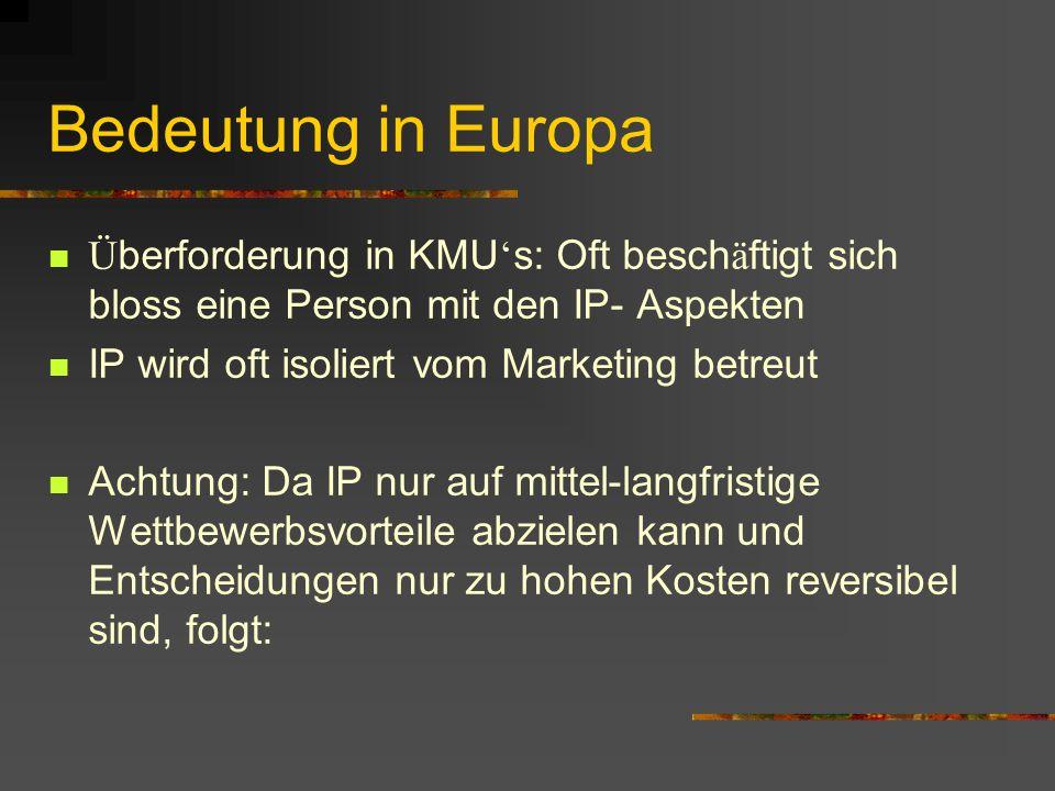 Bedeutung in Europa Überforderung in KMU's: Oft beschäftigt sich bloss eine Person mit den IP- Aspekten.