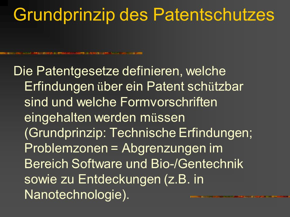 Grundprinzip des Patentschutzes