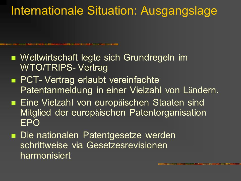 Internationale Situation: Ausgangslage