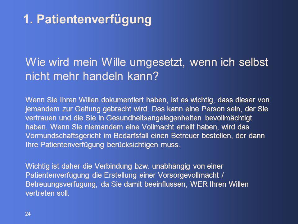1. Patientenverfügung Wie wird mein Wille umgesetzt, wenn ich selbst nicht mehr handeln kann