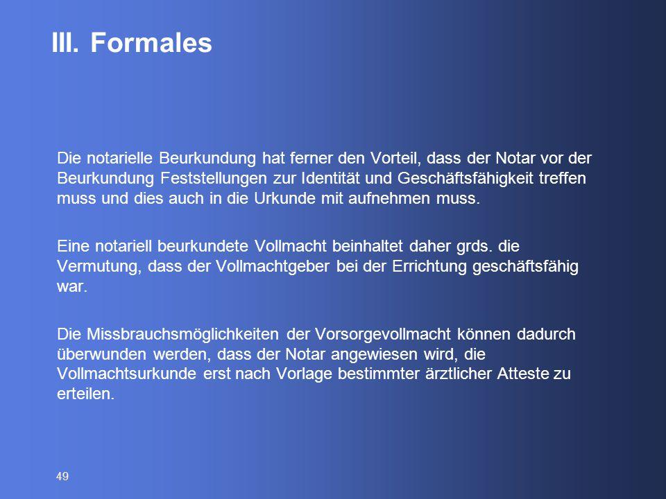 III. Formales