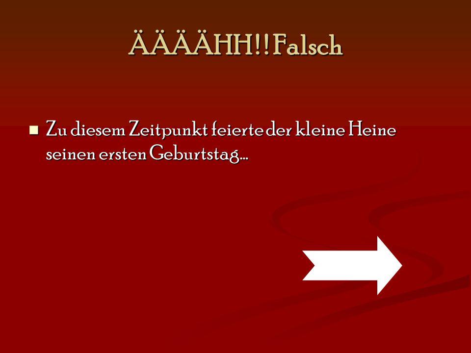 ÄÄÄÄHH ! ! Falsch Zu diesem Zeitpunkt feierte der kleine Heine seinen ersten Geburtstag…