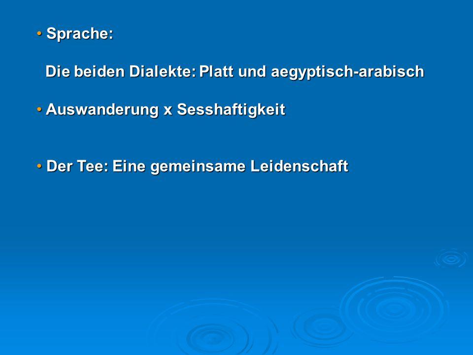 Sprache: Die beiden Dialekte: Platt und aegyptisch-arabisch.