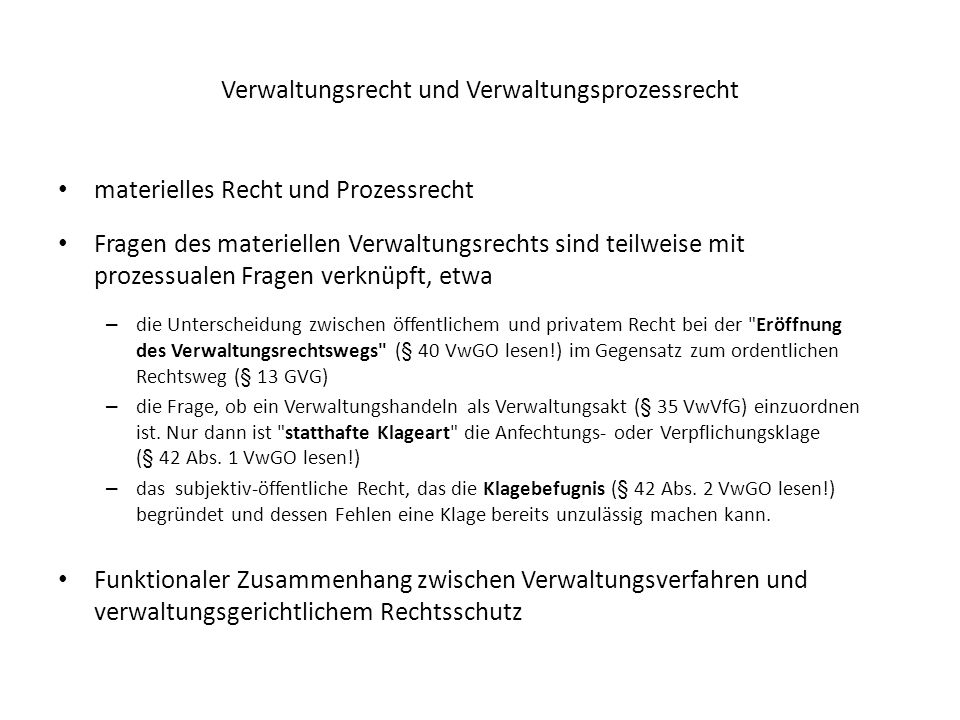 Verwaltungsrecht und Verwaltungsprozessrecht