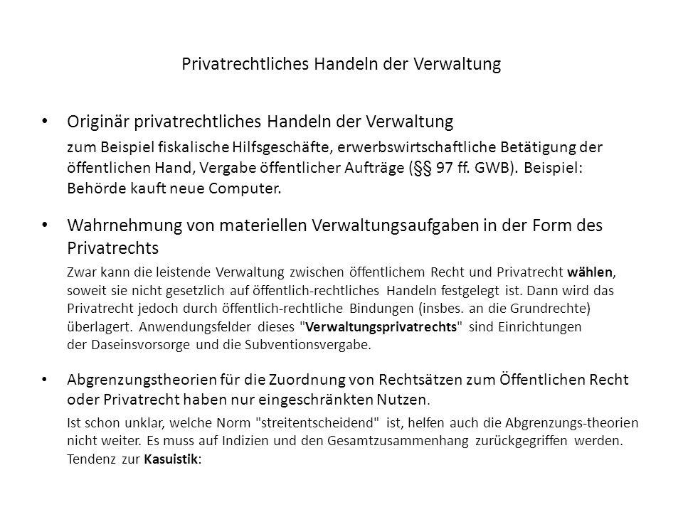 Privatrechtliches Handeln der Verwaltung