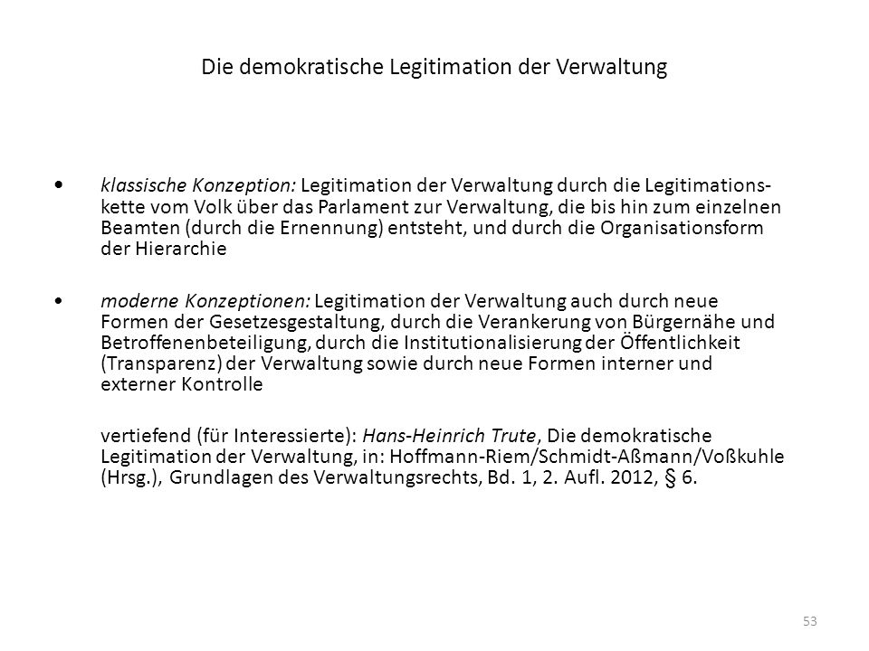 Die demokratische Legitimation der Verwaltung