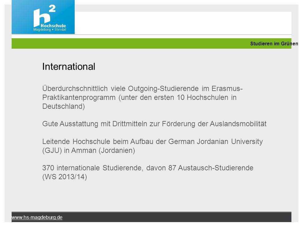 Studieren im Grünen International.