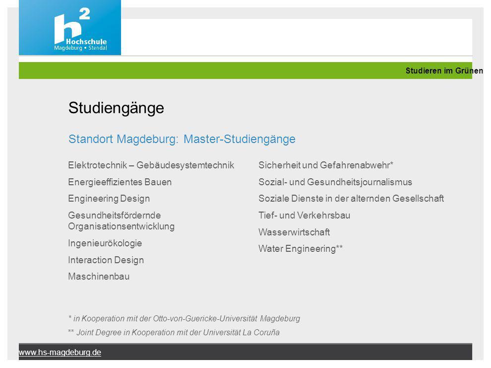 Studiengänge Standort Magdeburg: Master-Studiengänge