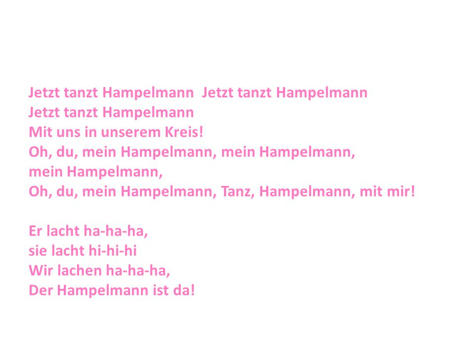 Jetzt tanzt Hampelmann Jetzt tanzt Hampelmann