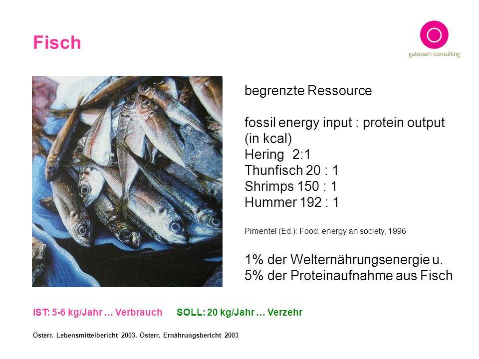Fisch begrenzte Ressource fossil energy input : protein output