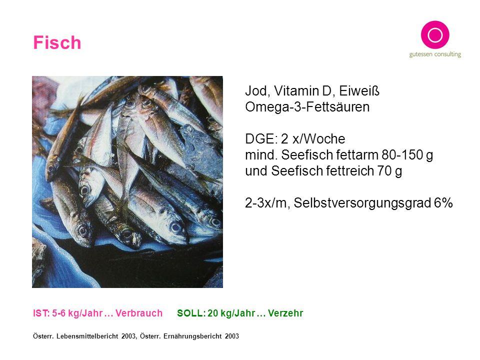 Fisch Jod, Vitamin D, Eiweiß Omega-3-Fettsäuren DGE: 2 x/Woche