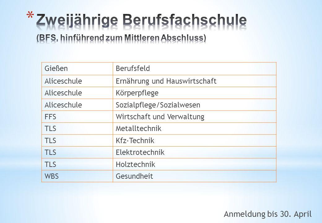 Zweijährige Berufsfachschule (BFS, hinführend zum Mittleren Abschluss)