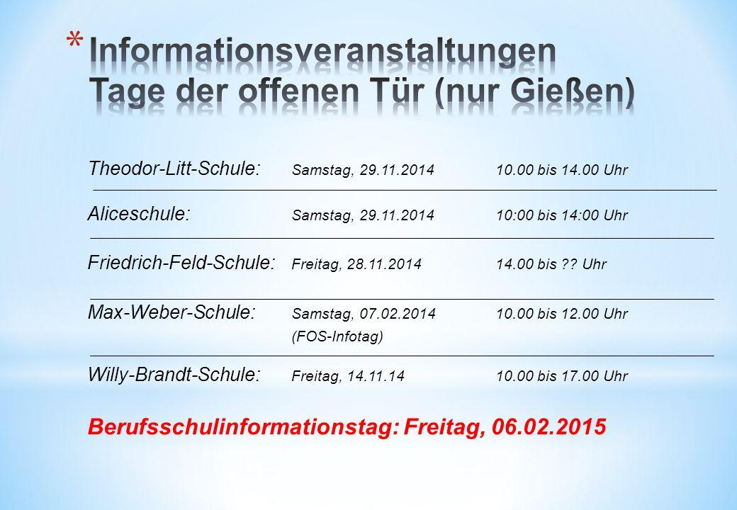 Informationsveranstaltungen Tage der offenen Tür (nur Gießen)