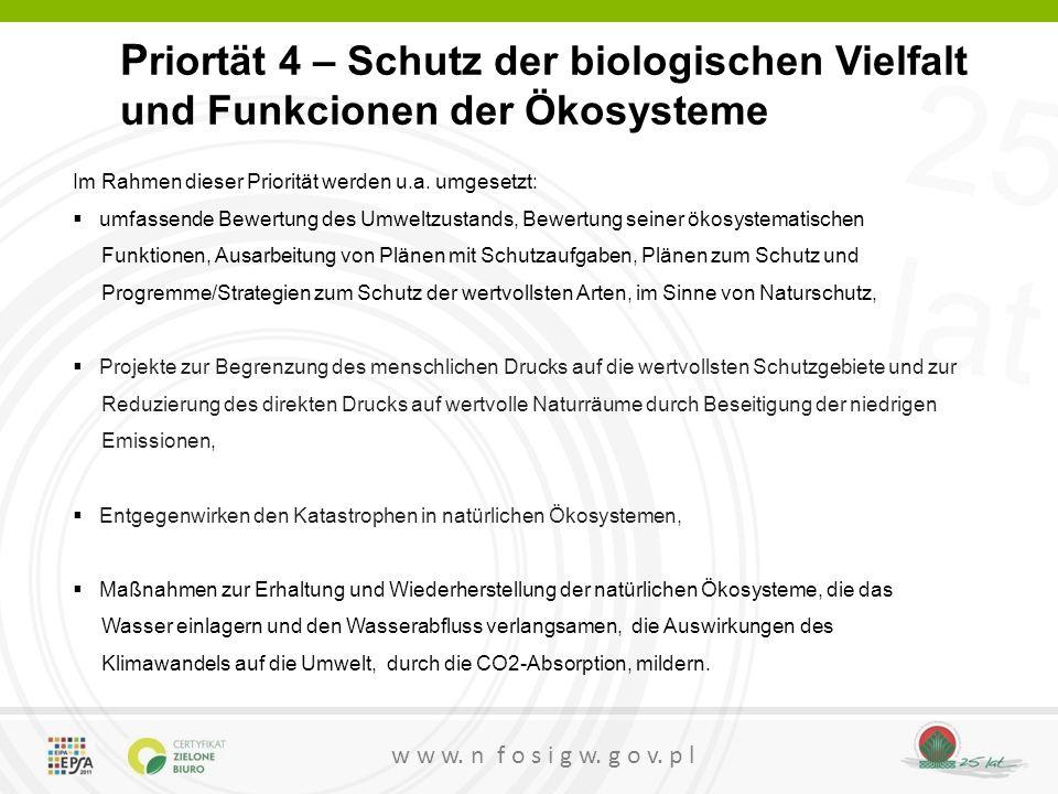 Priortät 4 – Schutz der biologischen Vielfalt und Funkcionen der Ökosysteme
