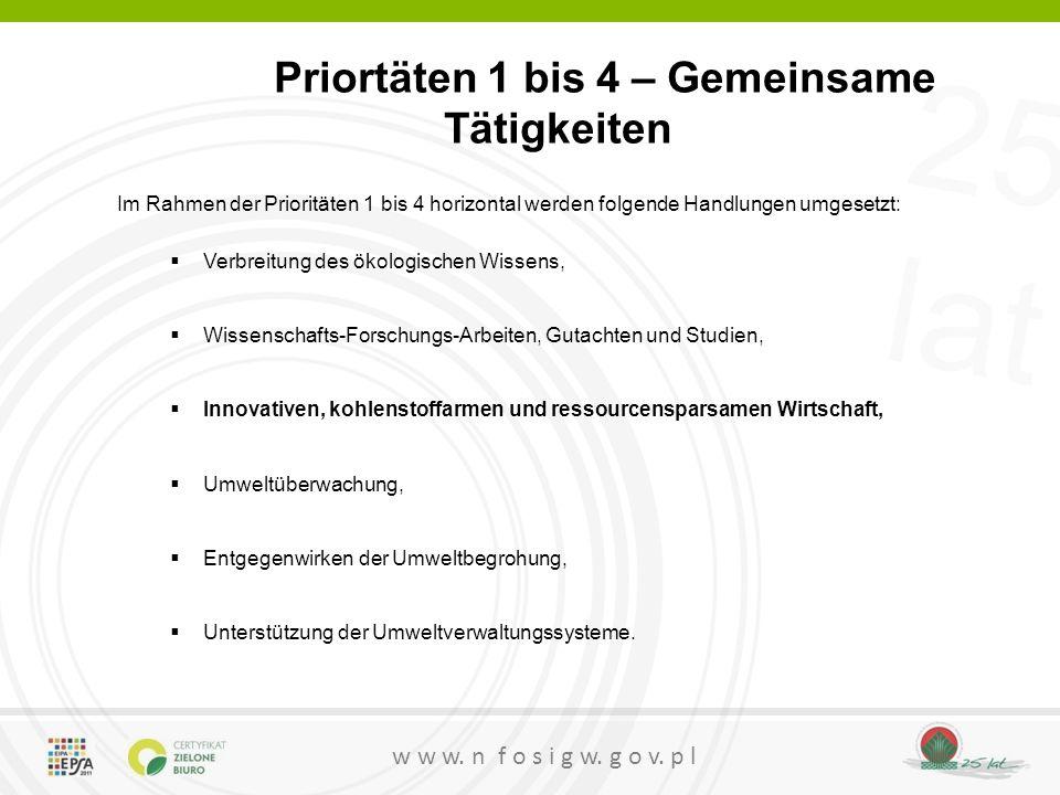 Priortäten 1 bis 4 – Gemeinsame Tätigkeiten