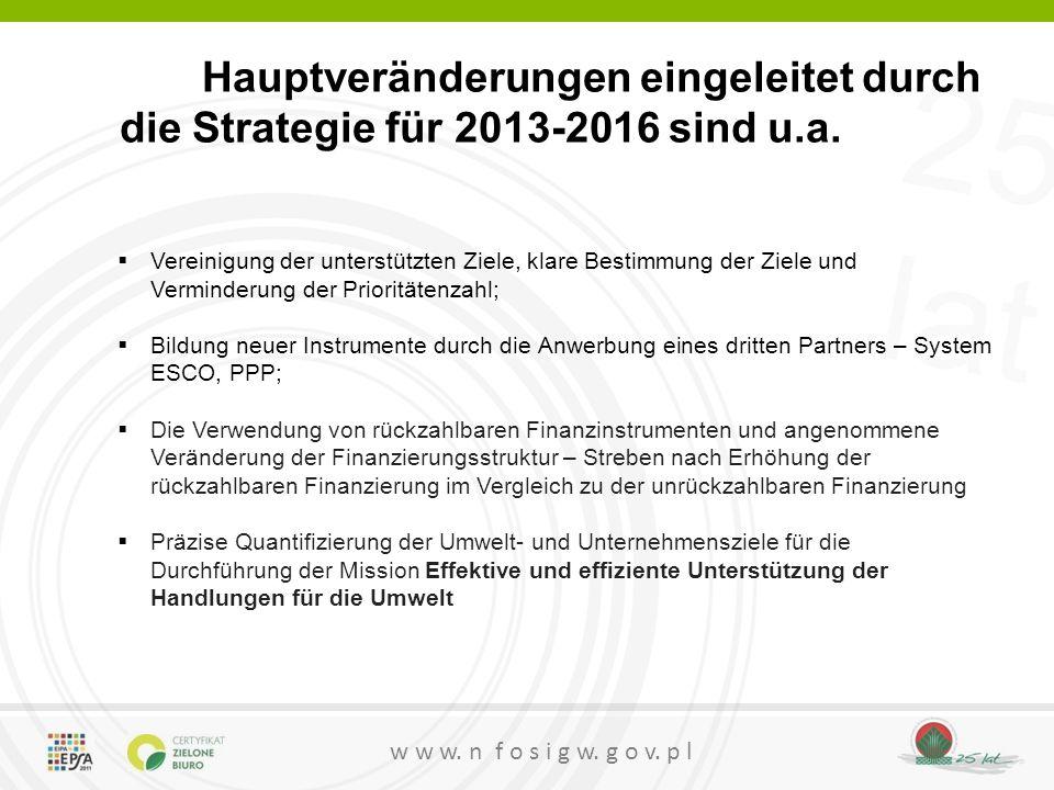 Hauptveränderungen eingeleitet durch die Strategie für 2013-2016 sind u.a.