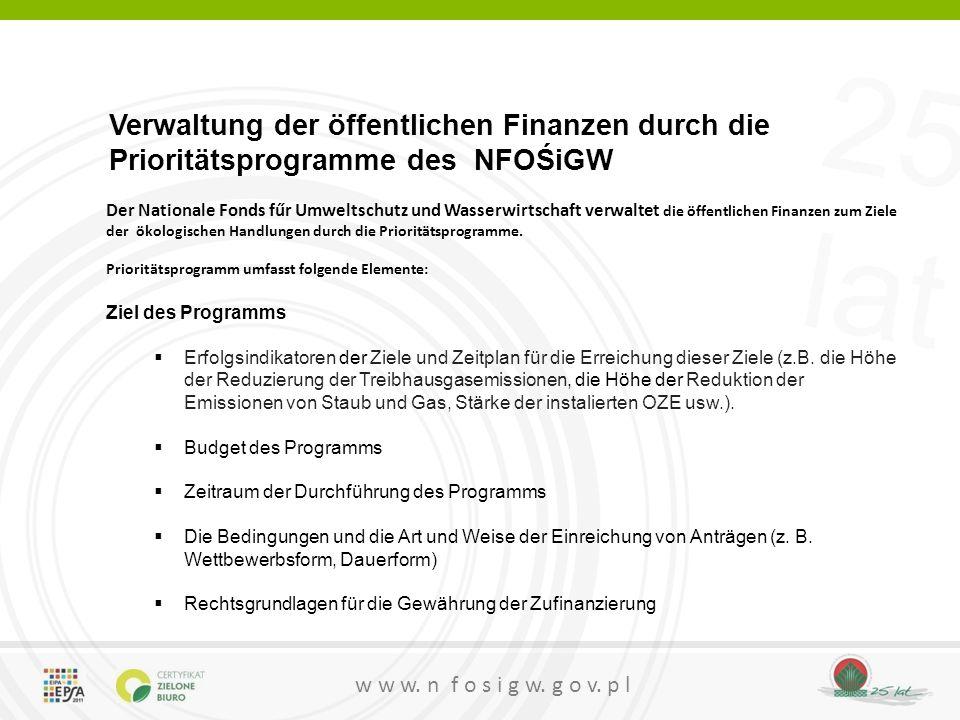 Verwaltung der öffentlichen Finanzen durch die Prioritätsprogramme des NFOŚiGW